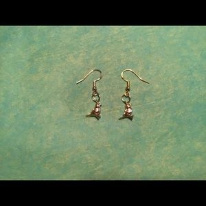 lolas boutique Jewelry - Solid brass 18k gold tiny bird earrings 925 silver